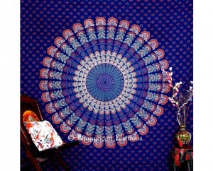 Blue Round Mor Pankh Tapestry Wall Hanging