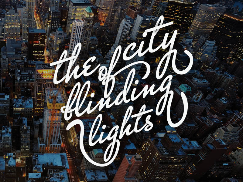 """T shirt print """"the city of blinding lights"""" inspired by the U2 song"""