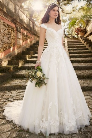 White Cap Sleeves Zipper Tulle Lace Applique Wedding Dresses