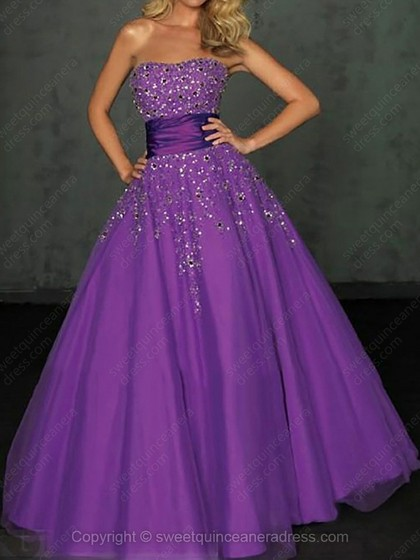 Buy Strapless Ball Gown Satin Tulle Floor-length Beading Quinceanera Dresses Online