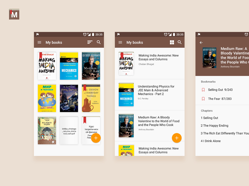 A clean and simple book reader application ui using material design