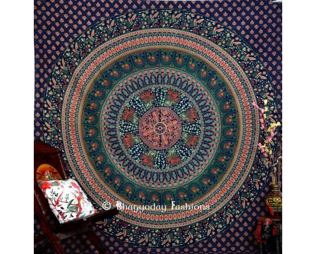 Elephant Design Blue Bohemian Tapestry Wall Hanging