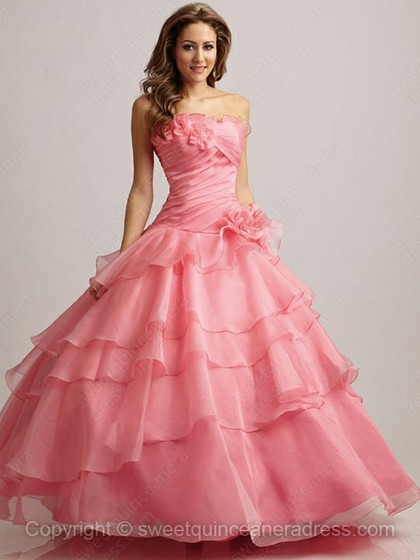 Strapless Ball Gown Satin Organza Floor-length Tiered Quinceanera Dresses