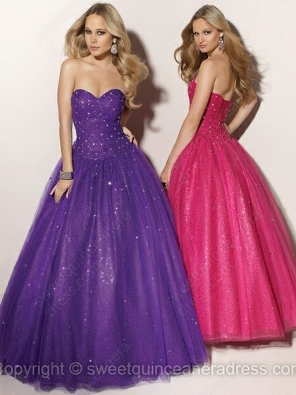 Sweetheart Ball Gown Satin Tulle Floor-length Beading Prom Dresses