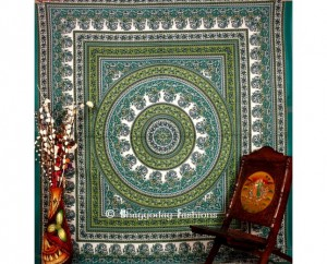 Green Hippie Mandala Tapestry