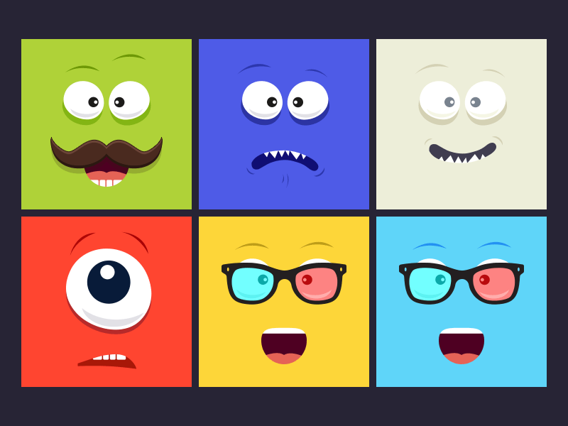 Here's a colourful set of smiling face made for you to use as avatars.