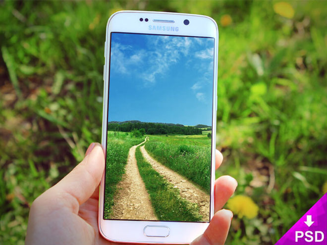 Free Samsung Galaxy S6 Edge Mockup with Nature Background