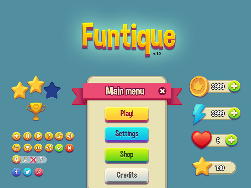 This is a vibrant and cartoonish game #UI Kit has over 30 elements that are retina ready.