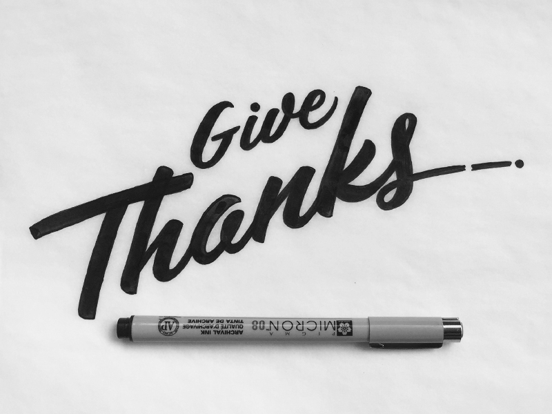 """""""Give Thanks"""" hand drawn lettering by Jenna Bresnahan"""