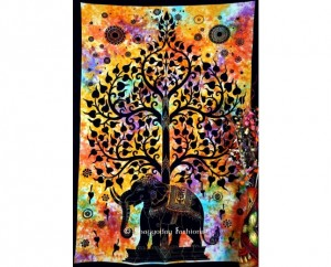 Indian Cotton Black Elephant Tree Tapestry