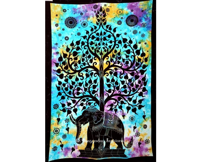 Indian Wall Hanging Elephant Tree Tapestry