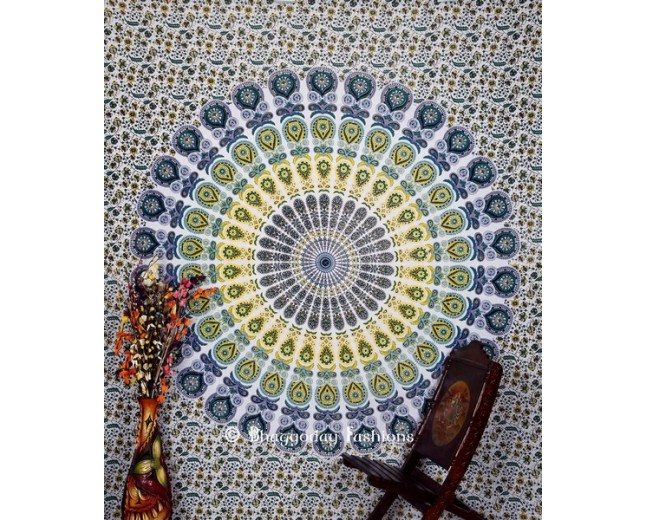 Indian Blue and Yellow Bohemian Wall Tapestry