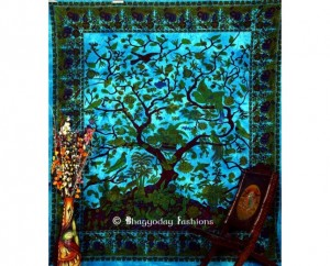 Tapestry Wall hanging in Turquise Print