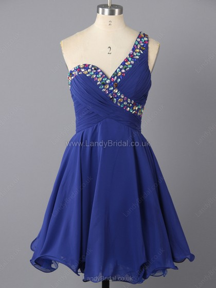 A-line Chiffon One Shoulder Short/Mini Rhinestone Prom Dresses