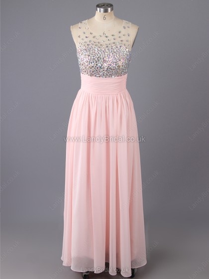 A-line Chiffon Scoop Neck Floor-length Beading Prom Dresses