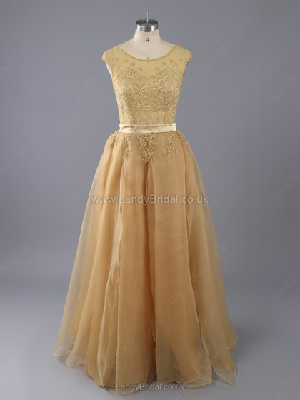 A-line Chiffon Tulle Scoop Neck Floor-length Beading Prom Dresses