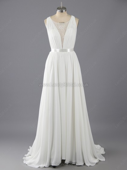 c45ad5129ba A-line Chiffon Tulle Scoop Neck Sweep Train Appliques Lace Wedding Dresses