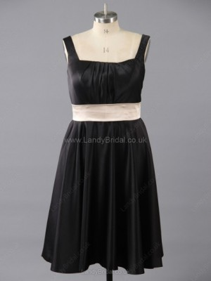 A-line Satin Square Neckline Tea-length Sashes / Ribbons Bridesmaid Dresses