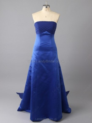 A-line Satin Strapless Floor-length Ruched Bridesmaid Dresses