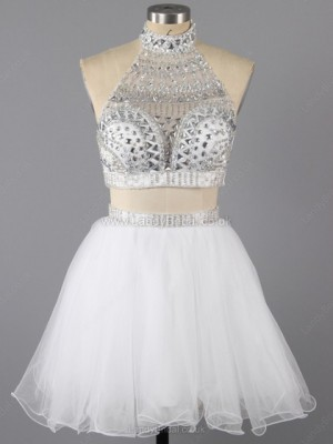 A-line Tulle Scoop Neck Short/Mini Ruffles Prom Dresses