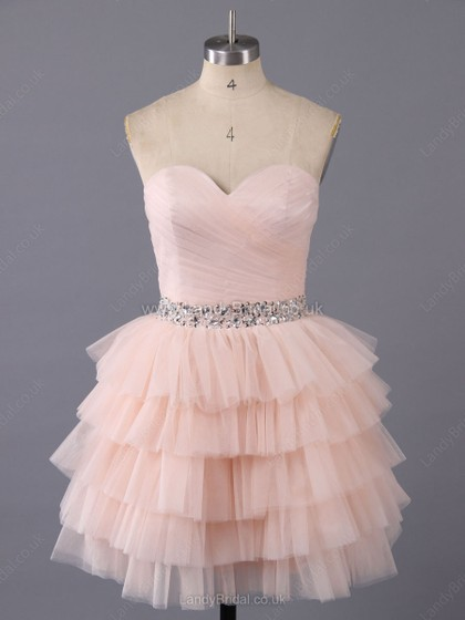 A-line Tulle Sweetheart Short/Mini Tiered Prom Dresses