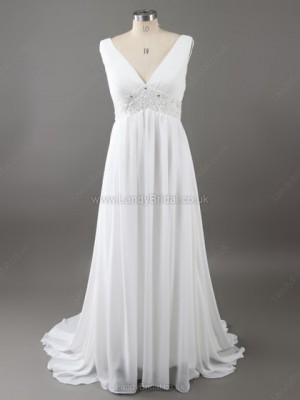 Empire Chiffon V-neck Sweep Train Beading Wedding Dresses