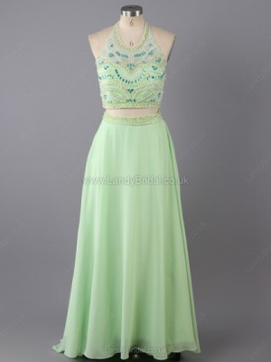 Princess Satin Organza Scoop Neck Sweep Train Rhinestone Prom Dresses