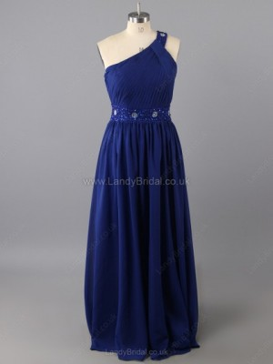 Sheath/Column Chiffon One Shoulder Floor-length Beading Prom Dresses