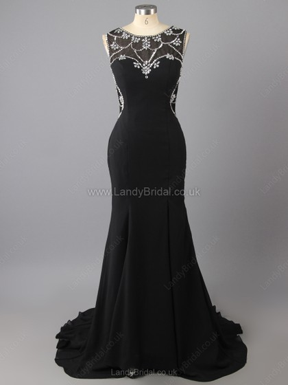 Sheath/Column Chiffon Scoop Neck Sweep Train Beading Prom Dresses