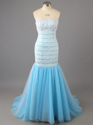 Trumpet/Mermaid Tulle Strapless Sweep Train Lace Prom Dresses