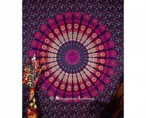 Purple Round Circle Bohemian Tapestry Beach Towel