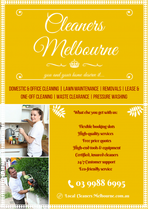 Poster design of Cleaners Melbourne. Their quality cleaning services are like no other in town!