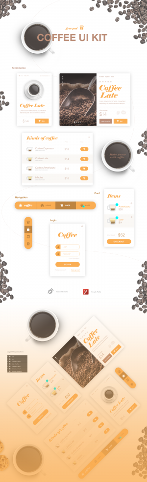 Coffee UI Kit – Free Psd