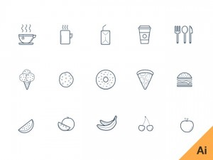 Free Kitchen Icon Set (AI)