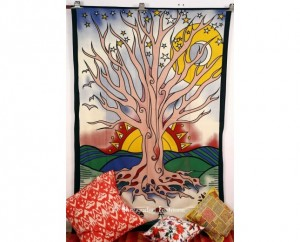 White Tree of Life Tapestry for Beach Outings