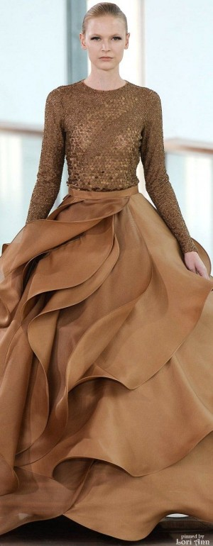 Stéphane Rolland ~ Couture Spring Gown w scalloped full skirt, Mocha, 2015 | Dresses | Pinterest ...