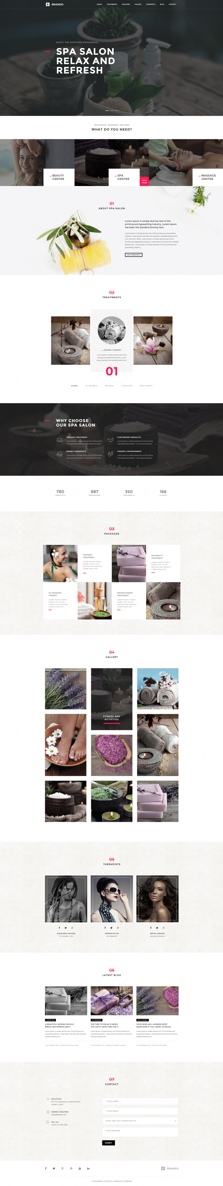 Brando Spa OnePage WordPress Theme