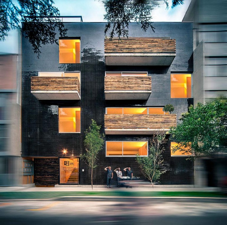 This Apartment Building Has a Black-Reflective Square-Shaped Facade