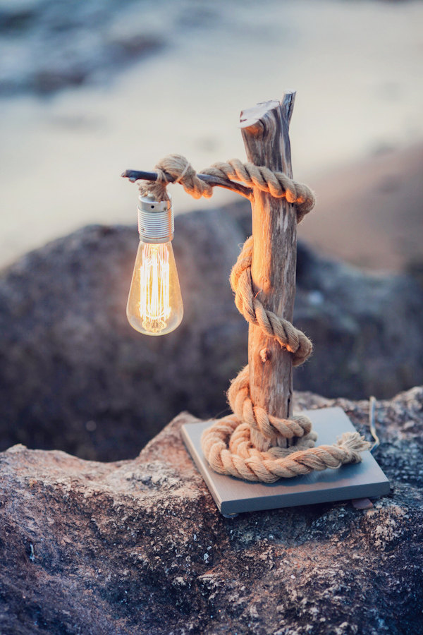 Driftwood lamp with rope. Home decor.