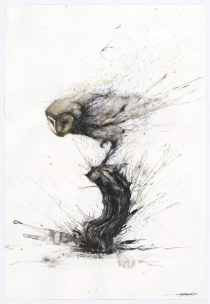 Explosive Splattered Ink Animal Paintings by Hua Tunan