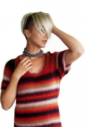 Handmade knitted unique tunic / short sleeve tunic/ yarn King Cole Riot Yarn color Volcano on SALE