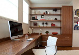 Modern Home Office with Built-In desk + storage