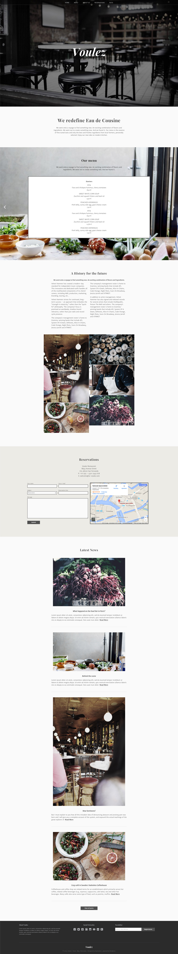 """Voulez"" is a multifunctional WordPress Theme. As a Onepage it is perfect for restaurants, photo ..."