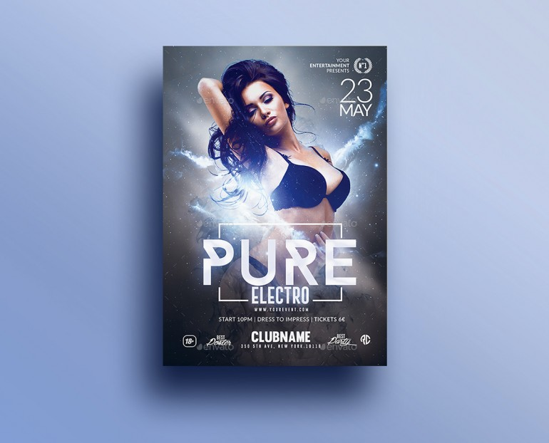 Pure Electro Flyer | Psd Template.Creative Design perfect to promote your Electro Party / Event ...