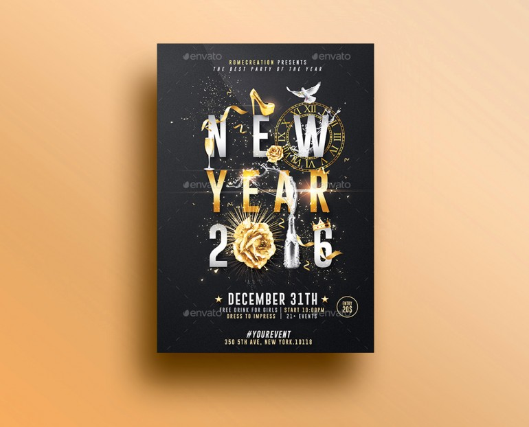 New Year | Psd Poster Template.Creative Design perfect to promote your New Year Party / Event ...