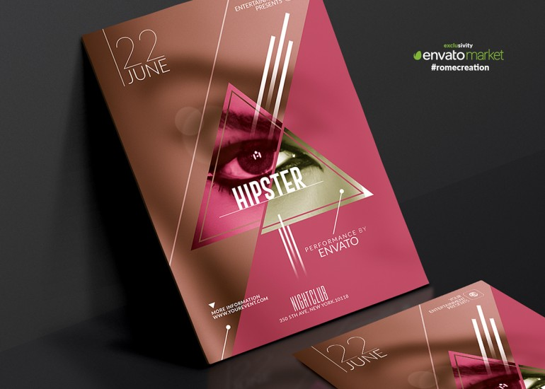 Package Hipster | Psd Templates.10 Minimal Hipster Party Flyers Template, Clean, Very easy to ...