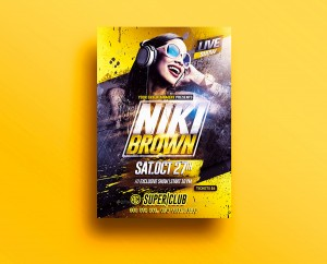 Live Dj Party | Psd Flyer Template.Creative Design perfect to promote your Event.Psd Available