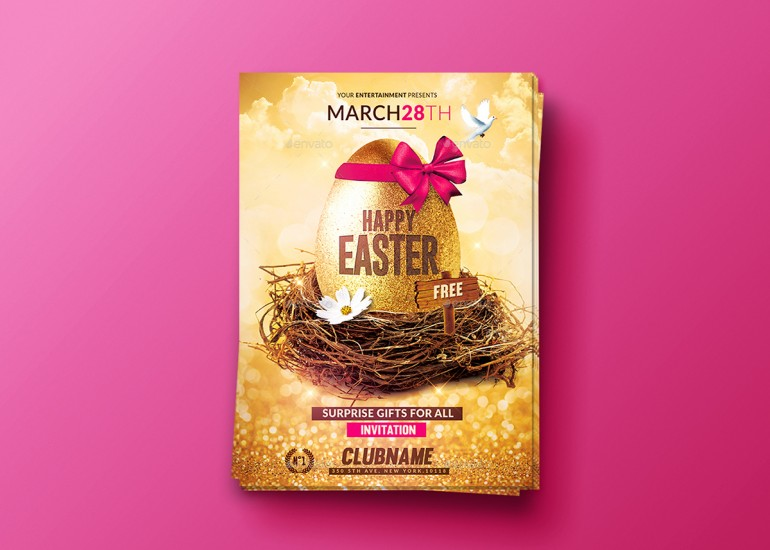 Happy Easter | Flyer Psd Template.Creative Template perfect to promote your Easter Party / Even ...