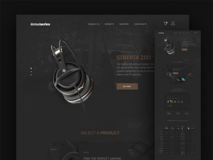 This is an elegant concept of a website for gamers named Steelseries.