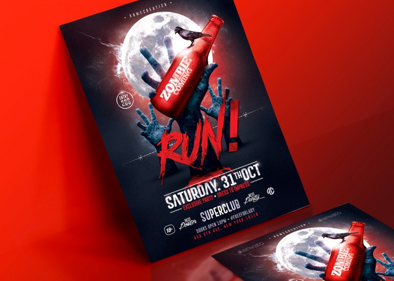 Halloween Zombie Party | Psd Flyer Template.Creative Design perfect to promote your Halloween P ...